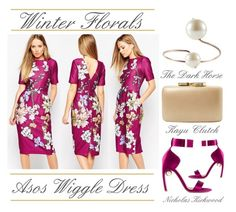 """Winter Florals - Asos Wiggle Dress"" by latoyacl ❤ liked on Polyvore featuring ASOS, Nicholas Kirkwood, Kayu, women's clothing, women's fashion, women, female, woman, misses and juniors"