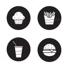 Hamburger and french fries long shadow symbols. Soda drink with straw and muffin white silhouette illustrations. Web Design Icon, Flat Design Icons, Graphic Design, Fast Food Restaurant, Menu Restaurant, Cafeteria Menu, Burger Icon, Circle Symbol, Soda Drink