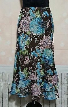 Cato Floral Print Layered Skirt SZ Large