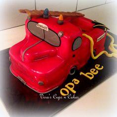 Firetruck cake, brandweerwagen taart