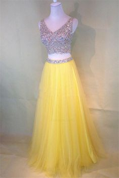 On Sale Fetching 2018 Prom Dress Two-Piece Beaded Sleeveless V-Neck Tulle Yellow Prom Dresses Two Piece Homecoming Dress, Prom Dresses Two Piece, V Neck Prom Dresses, Prom Dresses 2018, Beaded Prom Dress, Cute Dresses, Lace Dress, Bridesmaid Dresses, Dress Prom