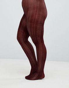 ASOS CURVE Pelerine Tights In Burgundy - Red