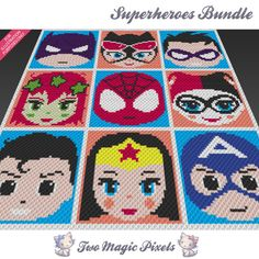 Superheroes Bundle, 9 graph crochet blanket pattern; knitting cross stitch graph; pdf download; no written counts or row-by-row instructions by TwoMagicPixels, $6.64 USD