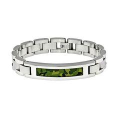 "Lynx Stainless Steel Camouflage Bracelet - Men, Size: 8.5"", Green"