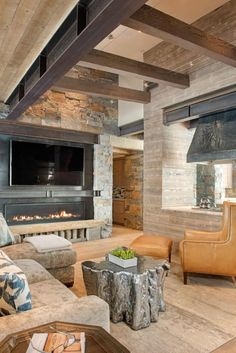 Mountain Peek is a custom designed modern-rustic mountain home by Centre Sky Architecture, located within the Yellowstone Club in Big Sky, Montana. Rustic Loft, Modern Rustic Decor, Modern Rustic Homes, Rustic Contemporary, Modern Rustic Interiors, Modern Lofts, Contemporary Apartment, Modern Houses, Mountain Home Interiors
