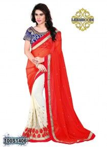 Blooming Red & Off-White Coloured Saree