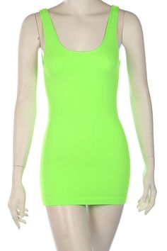BASIC LONG TANK TOP-Neon Green