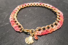 Bracelet chaine tressée, bracelet dégradé, bracelet tressé, bracelet rose saumon…