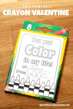 Non Candy Valentine Idea: Crayon Valentines for Freebie Friday - Spaceships and Laser Beams