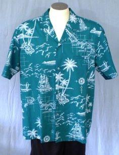Royal Creations Teal XL Hawaiian Shirt Welt Pocket White Island Names Ships Palm #RoyalCreations #Hawaiian