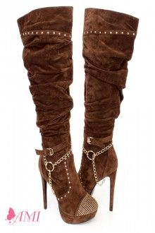 Brown Slouchy Studded Knee High Heel Boots Faux Suede