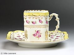 Dresden very delicate cup and saucer with yellow, scalloped rims and small pink roses