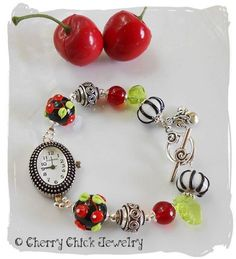 Cherry Bracelet Watch - Rockabilly Cherries - Cherry Lampwork Glass - Beaded Cherry Watch - Cherries - Beaded Watch - Cherry Chick Jewelry by CherryChick on Etsy