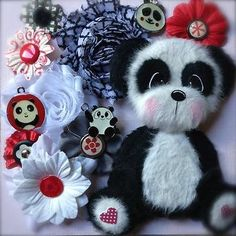 PANDA-SHABBY-Flower-Charm-Hat-Pin-SET-Scrapbook-TEAR-BEAR-ELITE4U-3paperwishes