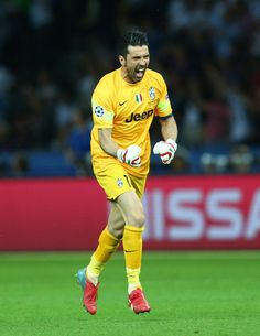 Gianluigi Buffon of Juventus celebrates the goal scored by Alvaro Morata during the UEFA Champions League Final between Juventus and FC Barcelona at Olympiastadion on June 6, 2015 in Berlin, Germany.