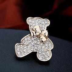 Min Order $10 Y043 clothing full rhinestone bow bear brooch pin