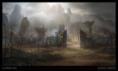 Shadow of Mordor - Camp Gate concept art, James Paick on ArtStation at http://www.artstation.com/artwork/shadow-of-mordor-camp-gate-concept-art