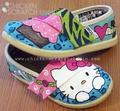 Hello Kitty Custom Hand Painted TOMS- coupon code TOMSFUN to save $10