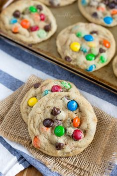 These Giant Chocolate Chip Cookies with M&Ms are loaded with chocolate and super soft and chewy. They are destined to be your new favorite!