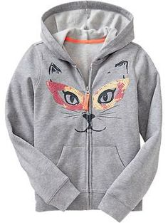 Girls Sequined-Graphic Hoodies