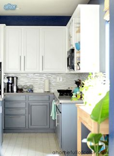 via Better After via A Home Full of Color blog kitchen makeover with a cool blue and gray color scheme and a beautiful brag-worthy backsplash