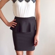 [topshop] neoprene peplum pencil skirt A form-fitting neoprene pencil skirt for everyday wear. Super comfy! Best to wear with crop tops or tanks tucked in. Great condition Topshop Skirts Pencil