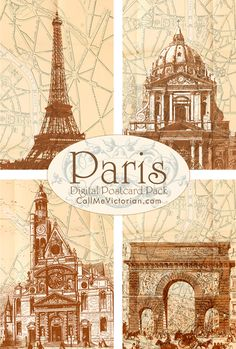 Paris digital printable postcards http://callmevictorian.com/624/paris-digital-postcard-pack/