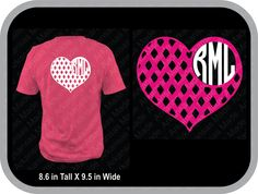Diamond heart monogram custom shirt, shown with round monogram on back of shirt - pinned by pin4etsy.com