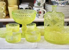 Do you know yellow uranium salt glass!? 🍋💛🐝  This is Grapponia by Nanny Still. It was produced by Riihimäen Lasi in the 60-70s. The series came in many colours, but the most interesting is the fluorescent yellow, that in different light shifts colour. It is made with a small pinch of uranium salt.  And please don't worry, it's 100% safe. 💛  #nannystill #finnishvintage #vintagedishes  #finnishglass #70s #riihimäenlasi #grapponia #vintageglass #finland #finnishdesign  #retrodishes…