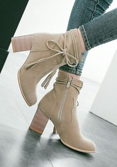 New Women Beige Round Toe Chunky Bow Fashion Ankle Boots Heeled Boots, Shoe Boots, Ankle Boots, Stylish Winter Outfits, Trendy Outfits, Fancy Shoes, Me Too Shoes, Winter Fashion Boots, Fashion Shoes