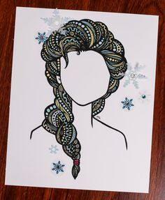 Zentangle  Ice Queen by ZenspireDesigns on Etsy