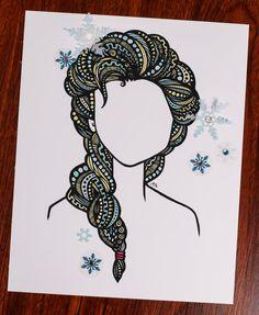 Zentangle Ice Queen by DesignsByBlynn on Etsy