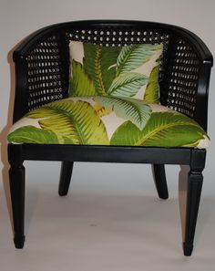 A tropical cane chair refinished in a dark espresso paint and reupholstered in Tommy Bahamas tropical leaf fabric. Please convo me for shipping options and rates Cane Furniture, Cheap Furniture, Furniture Online, Furniture Ideas, Tropical Interior, Tropical Decor, West Indies Style, British Colonial Decor, Beach House Decor