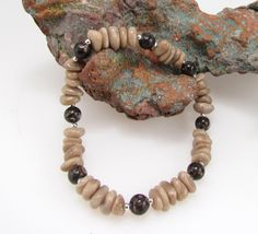 Petoskey stone and fossil crinoid stretchy beadwork bracelet with sterling silver 0292 by MemoriesOfMichigan on Etsy