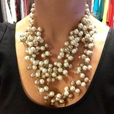 NWT Stella & Dot Pearl Statement Necklace Brand New, Never Worn Stella & Dot Pearl & Gold Statement Necklace.  Includes Original Box & Packaging.  More Photos Coming. Stella & Dot Jewelry Necklaces