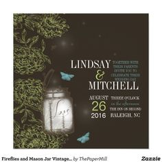 Fireflies and Mason Jar Vintage Wedding Lime Brown Personalized Invitation