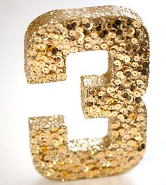 Gold Sequined Table Number by Chasing Bliss Design