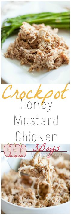 Whole Grain Mustard and honey come together in the easiest and tastiest crockpot meal, Honey Mustard Chicken! This will surely be a new family favorite.