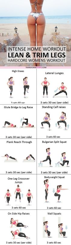 Slim, Lean & Trim Legs: Intense Home Workout for Women - Transform Fitspo - Keto Diet Plan Fitness Workouts, Sport Fitness, Fitness Diet, Yoga Fitness, At Home Workouts, Fitness Motivation, Health Fitness, Sport Motivation, Butt Workouts