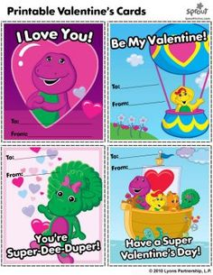 Barney and Friends Printable Valentine's Day Cards – Barney & Friends Coloring Pages for Kids | Sprout