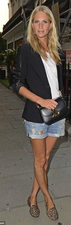 Vuitton Vivienne Denim shorts + classy veste = cute outfit