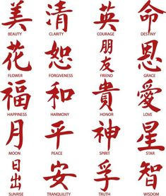 "Chinese Words Inspirational Vinyl Stickers (20 Decals) 3"" each"