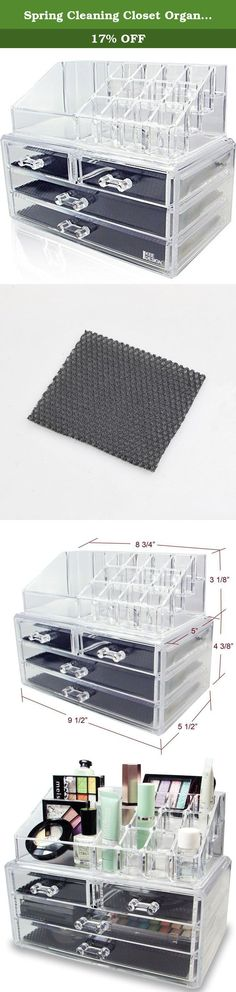 Spring Cleaning Closet Organization Tip: Arrange your beauty products in an acrylic cosmetic storage box to find them easily when you need them most!. Acrylic Jewelry Makeup Cosmetic Storage Display Boxes Two Pieces Set. Accessories not included.