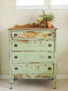 Awesome Distressed Furniture Ideas New Simple DIY Furniture Makeover and Transformation Repurposed Furniture, Shabby Chic Furniture, Rustic Furniture, Vintage Furniture, Diy Furniture, Furniture Stores, Modern Furniture, Green Distressed Furniture, Refurbished Furniture
