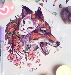 Fox Artwork, Fox Tattoo, Cool Art Drawings, Drawings, Creature Art, Art, Cute Animal Drawings, Japanese Tattoo, Fox Art
