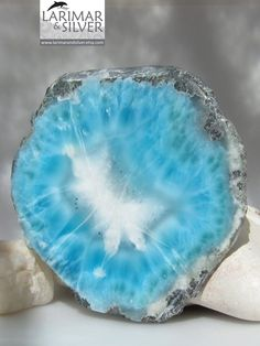 Larimar polished slab, impressive big slice of raw Larimar