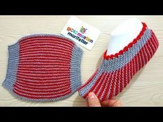 How to Make Stripes Slippers - Her Crochet Knit Slippers Free Pattern, Knitted Slippers, Crochet Slippers, Knit Crochet, Baby Hats Knitting, Knitting Socks, Striped Slippers, Knitting Patterns, Crochet Patterns