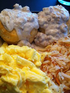 Biscuits and gravy made with Morning Star  Farms breakfast patties and country pepper gravy mix.