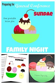 Preparing for General Conference sundae family home evening lesson. Free lesson plan and activity download!