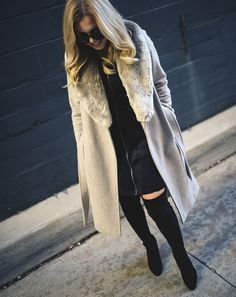 grey fur collar coat   fixing inspiration for you home - Allyson in Wonderland